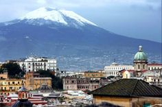 napolisclera: Naples with a snowy Mt. Vesuvius