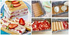 Torta semifreddo panna e fragole dolce senza cottura veloce e facile.Dolce al cucchiaio goloso,cremoso e fresco.Ricetta con fragole,panna,ricotta e pavesini