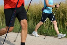 It's called nordic walking when there's no skiis or snow. :D Exotic, fun, very Finnish.