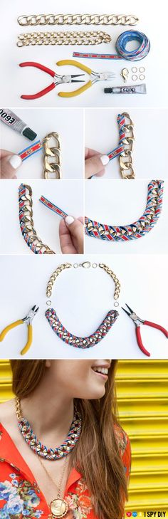 DIY Statement Necklace Ideas To Try Great ribbon and chain necklace from I Spy DIY!Great ribbon and chain necklace from I Spy DIY! Necklace Tutorial, Diy Necklace, Necklace Ideas, Chain Necklaces, Statement Necklaces, Pearl Necklace, Ribbon Necklace, Diamond Necklaces, Layered Necklace