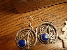 Vtg Retro Sterling Silver round Filagree drop earrings with Lapis stone VGUC #Unbranded #DropDangle