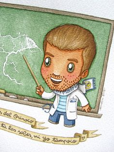 ameba verde: Custom Watercolor Portrait. Artwork. Chibi Cartoon style. Cute. Fun. Doctor and Teacher.