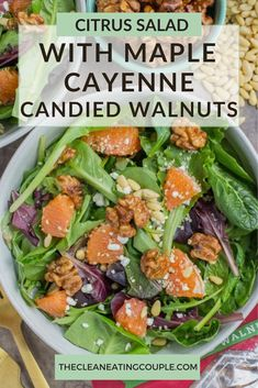 Looking for a healthy, yummy lunch? Try this Citrus Salad with Maple Cayenne Candied Walnuts! Mesclun greens piled high with goat cheese, walnuts, citrus   pine nuts- this salad makes for a light and refreshing lunch, perfect for a warm summer day! #glutenfree #yummy #healthy #lunch Easy Clean Eating Recipes, Clean Eating Salads, Easy Salads, Healthy Salad Recipes, Healthy Side Dishes, Side Dishes Easy, Side Dish Recipes, Healthy Vegetable Recipes, Healthy Gluten Free Recipes