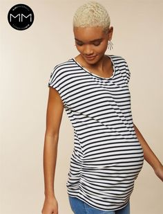 1fd75301811a0 Mimi Maternity Side Ruched Maternity T Shirt, Green Blue Stripes, Bump,  Maternity,