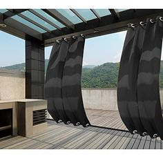 Macochico Extra Wide Outdoor Windproof Curtains Panels Home Decorations Waterproof Blackout Drapes for Patio Garden Cabana Thermal Insulated Sun Block Noise Isolation Black x Panel) - Modern Design Outdoor Curtains For Patio, Gazebo Curtains, Outdoor Blinds, Porch Gazebo, Backyard Gazebo, Garden Gazebo, Patio Roof, Pergola Patio, Diy Patio
