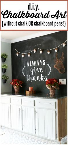 LOVE THIS fall chalkboard art and fall decor from Designer Trapped in a Lawyer's Body! Learn the easiest way to create a chalkboard wall with this tutorial. Fall Chalkboard Art, Chalkboard Pens, Kitchen Chalkboard, Chalkboard Designs, Chalkboard Sayings, Blackboard Wall, Diy Vintage, Chalk Wall, Easy Fall Crafts