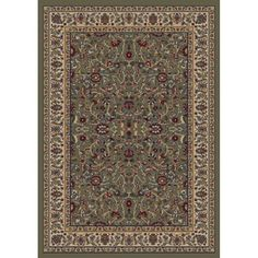 Concord Global Valencia Green Rectangular Indoor Woven Oriental Area Rug Common 4 X 6