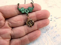 Sweet flower necklace simple jewelry by Gypsymoondesigns on Etsy, $18.00