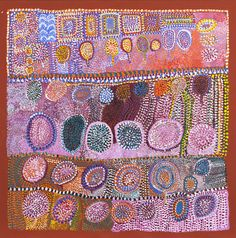 Loongkoonan (c.1910), Bush Tucker in Nyikina Country 2006, acrylic on canvas, Collection of Diane and Dan Mossenson, Perth, Western Australia © the Artist, courtesy of Mossenson Galleries