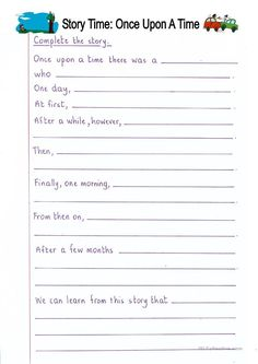Read and Complete - Once Upon a Time (story writing) worksheet - Free ESL printable worksheets made by teachers Creative Writing Worksheets, English Creative Writing, Writing Practice Worksheets, 2nd Grade Worksheets, Writing Prompts For Kids, Reading Comprehension Worksheets, English Writing Skills, Writing Jobs, Writing Activities