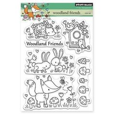 New Release - WOODLAND FRIENDS by Penny Black clear stamp set -  CUTE hedgehog, bunny, fox, birds, bunny, mushrooms - TimelessStamps4Yyou