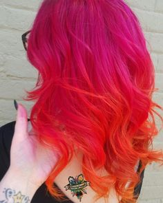 Pink Red Orange Hair And Bright Ombre