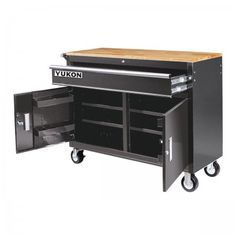 46 in. Mobile Storage Cabinet with Wood Top Tool Cart Workbench Building A Workbench, Workbench Top, Mobile Workbench, Folding Workbench, Workbench Ideas, Workbench With Storage, Tool Storage Cabinets, Storage Bins, Garage Workshop