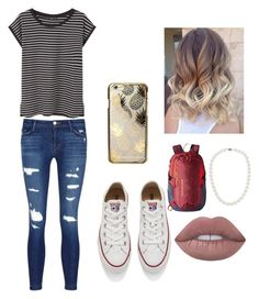 """""""casual school day"""" by griffinkite ❤ liked on Polyvore featuring J Brand, MANGO, Converse, Blue Nile, Patagonia, Lime Crime and Skinnydip"""