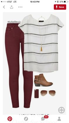 Wide stripes The post Burgundy skinny jeans appeared first on Casual Outfits. Emo Outfits, Casual Outfits, Cute Outfits, Fashion Outfits, Womens Fashion, Shop This Look Outfits, Fashion Clothes, Fall Winter Outfits, Autumn Winter Fashion