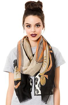 Printed Village- Hot Air Scarf. This lightweight #scarf features hot air balloon and antique trim print to show off your adventurous side. $24