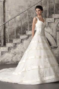 Graceful A-Line Straps Chapel Train Tulle Wedding Dress CWLT13025