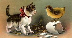Free Printable Easter Greeting Cards: Vintage Cats and Kittens - Vintage Holiday Crafts Easter Greeting Cards, Vintage Greeting Cards, Vintage Postcards, Vintage Images, Vintage Pictures, Cute Little Kittens, Cats And Kittens, Easter Cats, Easter Chick