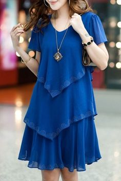 Stylish Women's Short Sleeve Pure Color Scoop Neck Dress