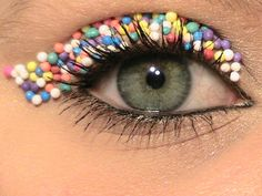 Candy inspired eye makeup.