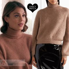 Nathalie Kelley as Cristal Flores in brown turtleneck sweater Dynasty season 1