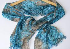summer fashionchiffoncolorfuluniquegift ideasbluebrown by seno, $15.00