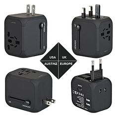 Travel Adapter, AC Adapter Charger All-in-One US UK EU AU Plugs Worldwide Universal Wall Charger with Dual USB Ports(Black)  http://topcellulardeals.com/product/travel-adapter-ac-adapter-charger-all-in-one-us-uk-eu-au-plugs-worldwide-universal-wall-charger-with-dual-usb-ports/?attribute_pa_color=black  1.WORLDWIDE CHARGING — Built in four different plug standards international electrical Travel Plug Adapter (US/UK/EU/AU Plug), above 150 Countries (United States, Canada,