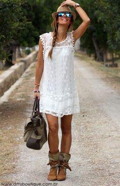Vestido Branco de Renda - Vestidos   DMS Boutique
