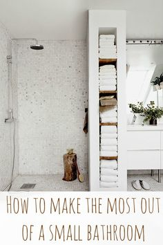 would use some of that shelf space for baskets filled with toiletries. How to make the most of a small bathroom.I would use some of that shelf space for baskets filled with toiletries. How to make the most of a small bathroom. Bathroom Renos, Bathroom Wall, Bathroom Interior, Bathroom Ideas, Bathroom Shelves, Bathroom Vanities, Bathroom Remodeling, Narrow Bathroom Storage, Small Narrow Bathroom
