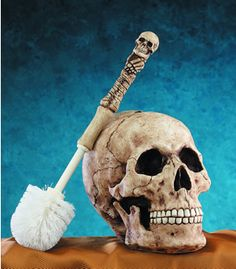 oh gosh.. jeff would toootaly get this :/   Skull Head Toilet Brush Holder  I bought this a few years back and it does the job.