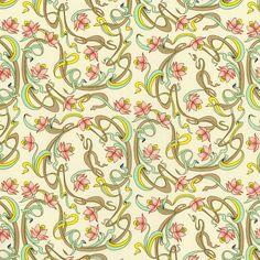 Rossi Florentine Print - Art Nouveau Ribbons in Pink & Aqua