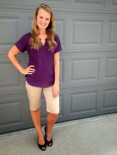 Sweet Bananie - purple Eddie Bauer blouse, khaki bermuda shorts & dark brown wedges