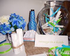 Message in a bottle jar for nautical baby shower in lieu of guestbook