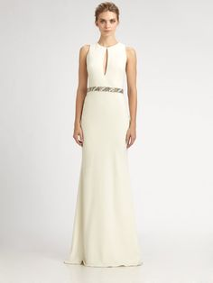 White crepe keyhole gown with gorgeous back train. Badgley Mischka.