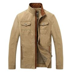 Casual Outdoor Cotton Breast Pockets Jacket Loose Stand Collar Coat For Men - Gchoic.com
