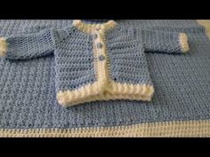 In this video you will learn how to crochet this baby cardigan/sweater. Using basic stitches you will be able to crochet this lovely baby cardigan. Baby Boy Crochet Blanket, Crochet Baby Cardigan, Crochet Jacket, Crochet Baby Booties, Hat Crochet, Learn Crochet, Crochet Top, Baby Knitting Patterns, Baby Patterns