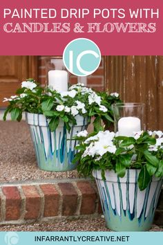 DIY drip painted flower pots are perfect for a wedding centerpiece, your front porch, or your back patio with candles. Get the tutorial and starting crafting! You can even get the kids involved. #craftideas #projects #homedecor #handmade #activities #wedding Painted Flower Pots, Painted Pots, Diy House Projects, Diy Craft Projects, Easy Diy Crafts, Fun Crafts, Knock Off Decor, Drip Painting, Diy Wreath