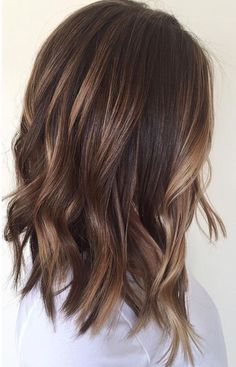 Glossy brown and balayage mid length lob shoulder length hair