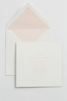 Yonder Design | Blush and White, Romantic Wedding, Modern Wedding, Custom Invitations, Unique Invitations, Monogram, Geometric, Art Deco, Blush Wedding, Blush Invitation, Wedding Design, Wedding Inspiration, Gold Edging, Square Invitation, Letterpress, Custom Envelope, Envelope Liner, Blush Diamond