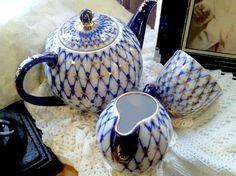 Lomonosov Cobalt Russian Net Porcelain