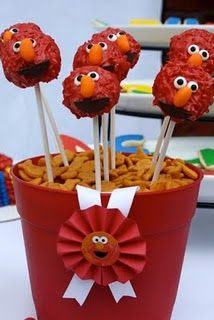 Elmo Cake Pops-Sesame Street birthday parti, elmo cake, birthday idea, cake pops, first birthdays, rainbow birthday, cakescak pop, cakepop, parti idea