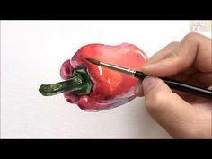(수채화 기초) 피망 정물수채화 Pimento Painting - YouTube
