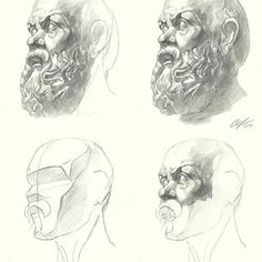 By How to draw the bust of Socrates (step by step tutorial) Drawing Cartoon Faces, Drawing Heads, Guy Drawing, Drawing Skills, Drawing Techniques, Pencil Portrait, Portrait Art, Academic Drawing, Sketches Tutorial