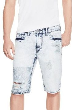GUESS Men's Acid Wash Patched Denim Shorts