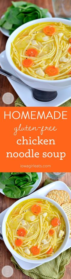 Gluten-free Homemade Chicken Noodle Soup is ready in under 30 minutes and made with fridge and pantry staples. The recipe has been in my family for generations, and is comfort food in a bowl! | iowagirleats.com