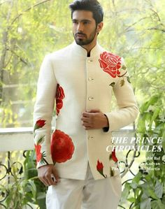 Ivory quilted jacket bandhgala jodhpurs flowers floral motif embroidery Indian wow