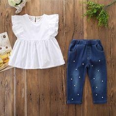 Brand New 2019 Toddler Baby Girls Ruffle Top+Denim Bead Pants Sizes 24 – Shop Kids Wear