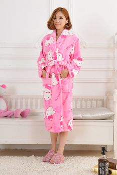 hot sell New novelty Robe with hello kitty for girl, causal robes for female free shipping