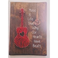 Guitar string art, guitar decor, music wall art, music art, music is life music… Nail String Art, String Crafts, String Art Quotes, Music Wall, Art Music, Music Lyrics, Indie Music, Music Crafts, Metal Tree Wall Art