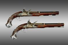 Pair of Silver-mounted Indian Flintlock Holster Pistols, in the English Manner, by Claude Martin, Lucknow Arsenal (1785)